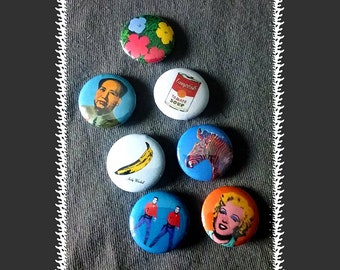 Andy Warhol Pin-back Buttons ~ 7-pack