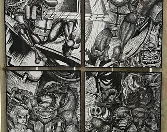 "T.M.N.T. - 34"" x 22"" - Quadtych (set of 4) Linoleum Block Prints - Limited Edition"