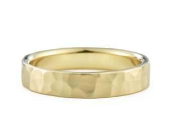 4mm 14K Gold Hammered Wedding Band, 14K Gold Ring Textured Wedding Ring