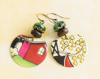 Colorful Asian Earrings with Yellow Hearts, Japanese Houses, Green Faceted Beads and Vintage Wooden Beads, Heart Earrings, Asian Jewelry