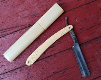 Vintage Clauss Straight Razor #7308H with Ivory Handle