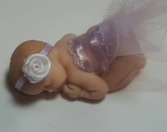 Polymer Clay Baby, Miniature baby Princess, OOAK Baby for cake topper, baby shower, bridal shower, baby ornament, OOAK shelf ballerina