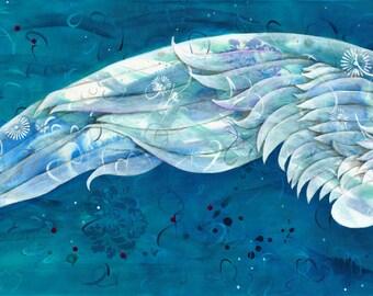 Take Flight ( left wing) - Wing - Wings - Angel wing - Serene - Beauty - Pair - Long - Peaceful - Blue - Bedroom - Michelle Gilks