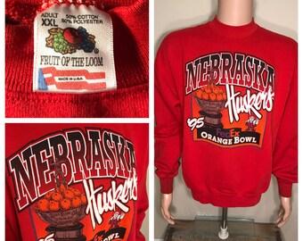 1994 Nebraska Cornhuskers sweatshirt // big logo // University of Nebraska 1995 Orange Bowl Miami florida // adult size XL / 90s retro rare