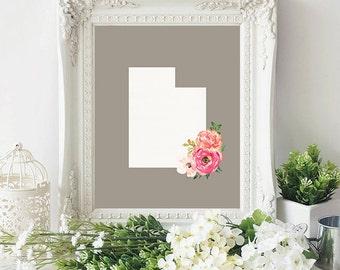 utah state silhouette floral 8x10 art print instant download