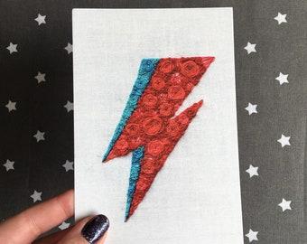 Floral Pop Wu Aladdin Sane David Bowie Hand Embroidery 4x6 Print Fan Art