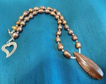 Zebra Stone and Copper Potato Pearl Necklace