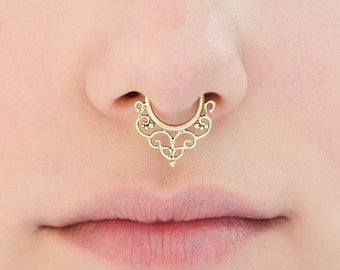Brass Septum Ring for pierced nose. tribal septum ring. septum piercing. indian septum ring. septum jewelry.