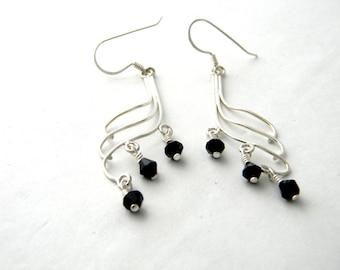 Sterling Silver Curved Black Drop Earrings Chandelier Earrings