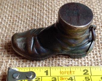 Vintage Vesta Boot, Novelty plated  Brass Match case with striker circa 1900s