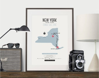 Zombie Safe Zone New York Map Poster - New York City Map