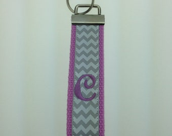Chevron Pattern Monogrammed Fun Wristlet Key Chains Ribbon Cotton Webbing 1.25 Inch Gift Key Fob