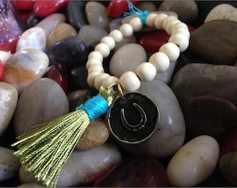 Wooden Bead Tassel Bracelet, Horseshoe Charm Bracelet, White Wooden Bead Tassel Bracelet, Green Tassel Bracelet, Tassel Bracelet