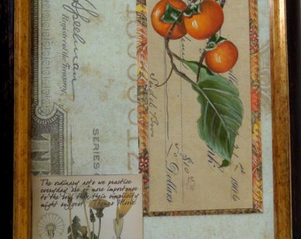 Botanical Collage with Persimmons