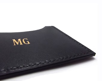 Monogrammed Black Leather Card Case, ID or Business Card Holder, your initials or name, chic
