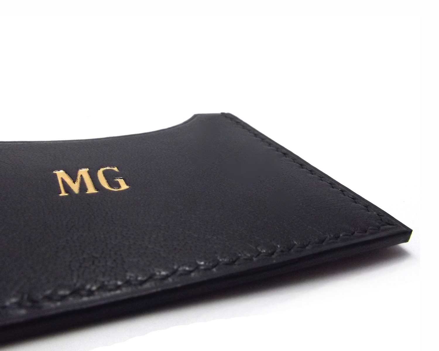 Monogrammed Black Leather Card Case ID or Business Card