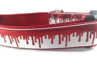 Halloween Dog Collar, Blood Drip,  adjustable, 1 inch, medium, 15-22 inches, heavy nylon, quick release buckle