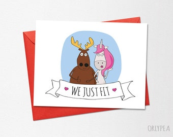 Valentines day card, Funny Wedding Card, Funny Love Card, Anniversary Card, We Just Fit, Printable Card, Boyfriend Card, Husband Card
