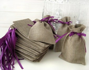 """SET OF 50 Natural Rustic Linen Eco Wedding Favors Bag with purple  ribbon- 4x6"""""""