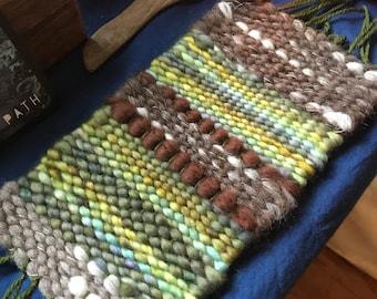 Woven treasure mat altar mat wool weaving forest woodland green