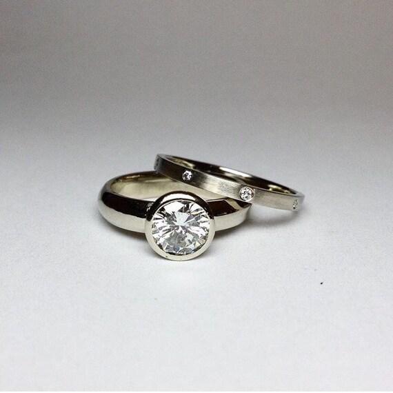 Bezel Set Engagement Ring and Wedding Band
