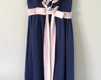 Vintage Maxi Dress/Swiss Dot/Navy Blue Long Dress/Boho/Retro Dress