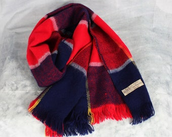 Vintage 60s 70s 100% Cashmere Plaid Scarf Made in England