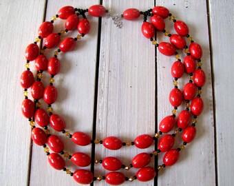 Chunky red necklace, chunky wood necklace, chunky necklace, chunky necklace, red bead necklace, wood necklace, triple necklace, red necklace