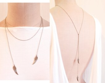 angel wing - Lariat Necklace, Open Necklace, Angel Wing Pendant, Backdrop Necklace, Long Necklace, Back Necklace