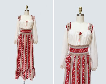 1970s Zemfira Dress { M } Vintage 70s Peasant Dress