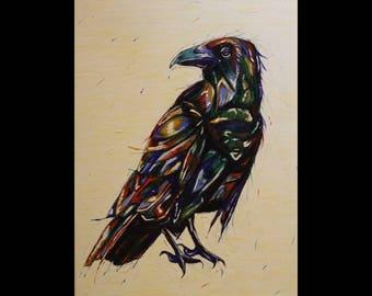 Crow Art. Ink Painting. Original Acrylic Painting. Bird Art. Bird Painting. Crow Painting. Raven Art. Ink Art. Ink Sketch. Paint Sketch.