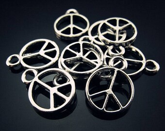 5 Tibetan silver peace PEACE charms - 16mm