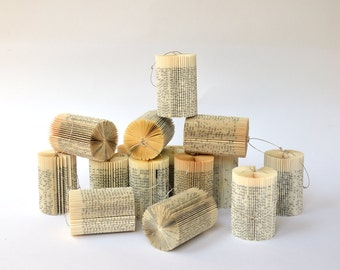 Cylinder small - Christmas Decoration: folded Book Art hanging Ornament