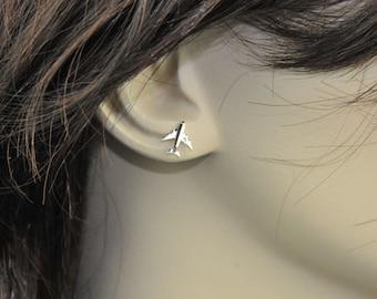 Sterling Silver Earrings, Airplanes Studs Earrings, Stud Earrings, Tiny Earrings, Handmade