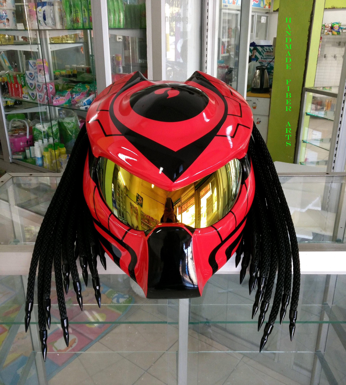 Rote Predator Custom Motorradhelm