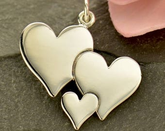 Sterling Silver Three Heart Charm - Family Charms