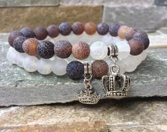 Partner bracelets Crown King & Queen bracelet set him and agate 8mm long distance relationship