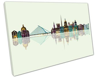 print on canvas wall art Green Midnight Landmarks of Dublin City Ireland Skyline - X1933