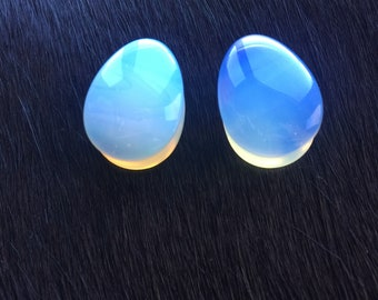 Opalite Teardrop Stone Double Flare Saddle Gauges Plugs Tunnels 5/8th 16mm