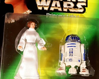 Star Wars R2D2 & PRINCESS LEIA Action Figures, Vintage Star Wars Toys, Carrie Fisher, The Force Awakens, 90s Toy, NIB Kenner Star Wars Toy