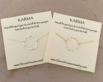 KARMA Circle Necklace - 14 Gold Filled or Sterling Silver - Hypoallergenic  - Large Circle
