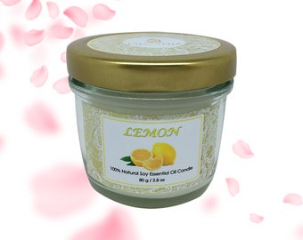 Scented Natural Soy Candle Lemon in Small Jar 80 g (2.8 oz) - 24 Hour Burn Time