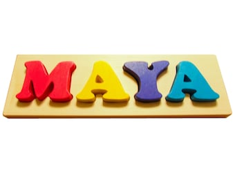 Solid Wood Custom Name Puzzle - 4 letter Solid Wood Toddler Name Puzzle - Toddler Name Puzzle