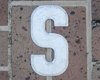 Vintage Metal Sign Metal Letter S Sign Vintage Marquee Metal Letter S Chippy Painted S Sign Rusty Sign