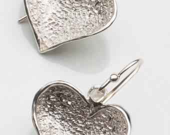 Heart Silver Earrings ,Silver Dangle Earrings ,Sterling Silver Earrings ,Handmade Silver Earrings ,Girls Silver Earrings ,Mother's Day Gift