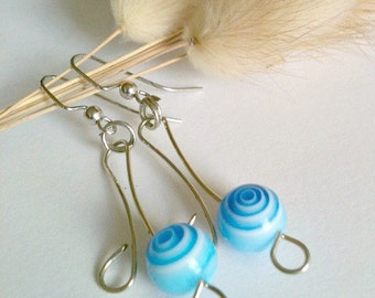 Blue Bead and Wire Wrapped Earrings