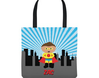 Superhero Tote Bag - Personalized Bag for Boys - Three Sizes to Choose From - Great for library, dance, music lessons, and more!