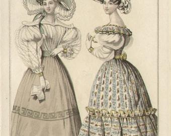 Morning Dress / Afternoon Costume, English 19th Century fashion engraving, 1828