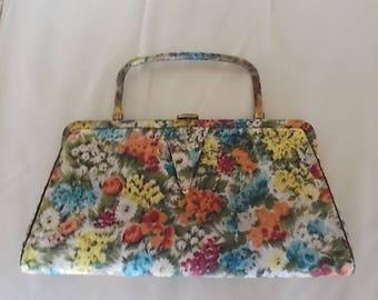 """Vintage~Flowered Satin~Handbag~Dress or Casual~12"""" wide~Pocketbook~Bag~Womens Accessorie~Nice~1960's~Smaller Bag"""