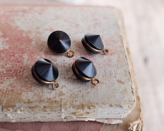 Set four vintage 1930 French black gold metal button, self shank, haute couture, jewellery, finding sewing